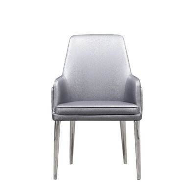 Labbe Upholstered Dining Chair Color: Gray/Silver