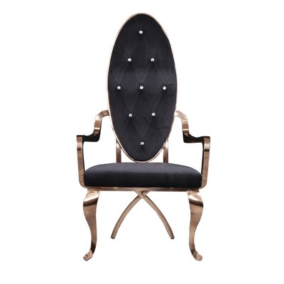 Fralick Upholstered Dining Chair (Set of 2) Upholstery Color: Black, Leg Color: Gold