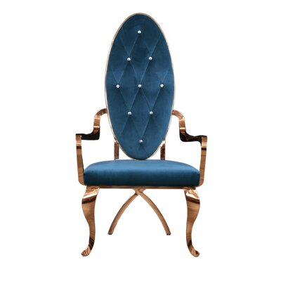 Fralick Upholstered Dining Chair (Set of 2) Upholstery Color: Dark Blue, Leg Color: Gold