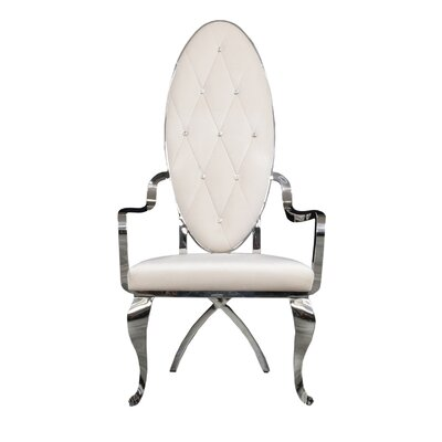 Fralick Upholstered Dining Chair (Set of 2) Upholstery Color: White, Leg Color: Silver