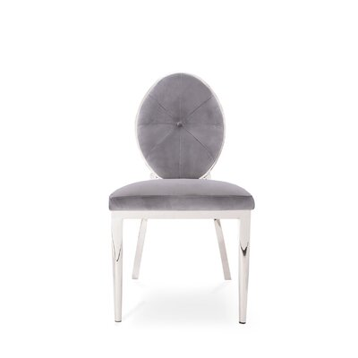 Fraise Upholstered Dining Chair (Set of 2) Upholstery Color: Gray, Leg Color: Silver