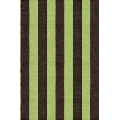 Lefker Stripe Hand-Woven Wool Brown/Green Area Rug Rug Size: Rectangle 6 x 9