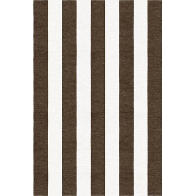 Mackelprang Stripe Hand-Woven Wool Brown/White Area Rug Rug Size: Rectangle 6 x 9