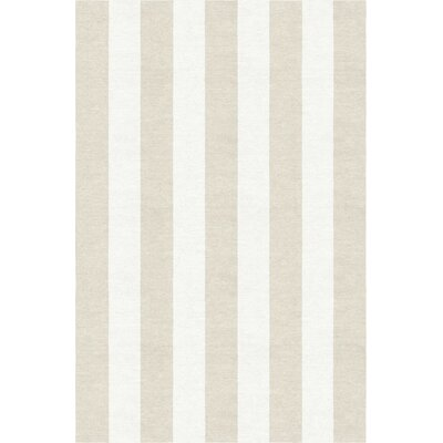 Wasson Stripe Hand-Woven Wool Silver/White Area Rug Rug Size: Rectangle 5 x 8