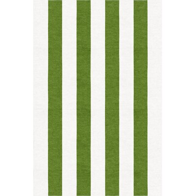 Bullington Stripe Hand-Woven Wool White/Green Area Rug Rug Size: Rectangle 8 x 10