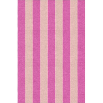 Means Stripe Hand-Woven Wool Pink/Peach Area Rug Rug Size: Rectangle 6 x 9