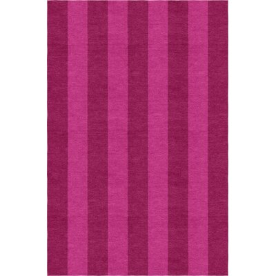 Reams Stripe Hand-Woven Wool Magenta/Pink Area Rug Rug Size: Rectangle 6 x 9