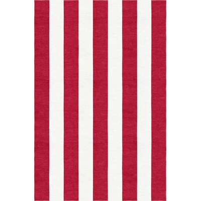 Watanabe Stripe Hand-Woven Wool Red/White Area Rug Rug Size: Rectangle 8 x 10