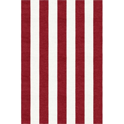 Watchman Stripe Hand-Woven Wool Wine Red/White Area Rug Rug Size: Rectangle 6 x 9
