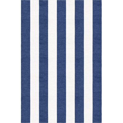 Waterfield Stripe Hand-Woven Wool Navy Blue/White Area Rug Rug Size: Rectangle 6 x 9
