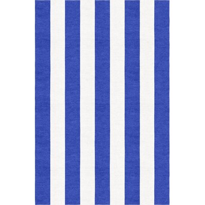 Waterhouse Stripe Hand-Woven Wool Blue/White Area Rug Rug Size: Rectangle 8 x 10
