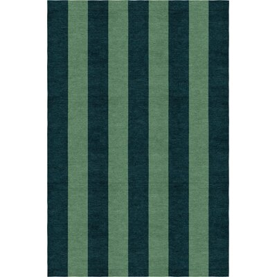 Sirstins Stripe Hand-Woven Wool Dark Green/Green Area Rug Rug Size: Rectangle 6 x 9