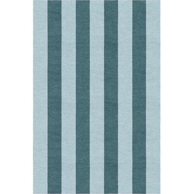 Waterman Stripe Hand-Woven Wool Light Blue/Gray Area Rug Rug Size: Rectangle 9 x 12
