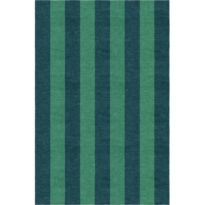 Wathen Stripe Hand-Woven Wool Green/Teal Area Rug Rug Size: Rectangle 8 x 10