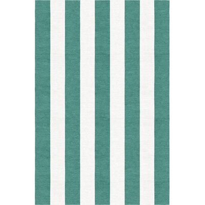 Watkin Stripe Hand-Woven Wool Teal/White Area Rug Rug Size: Rectangle 6 x 9