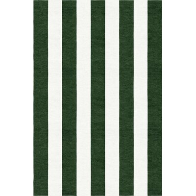 Watley Stripe Hand-Woven Wool Dark Green/White Area Rug Rug Size: Rectangle 9 x 12