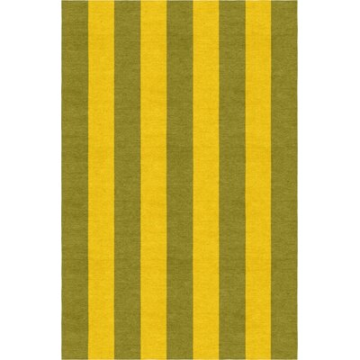 Reddish Stripe Hand-Woven Wool Olive/Gold Area Rug Rug Size: Rectangle 8 x 10