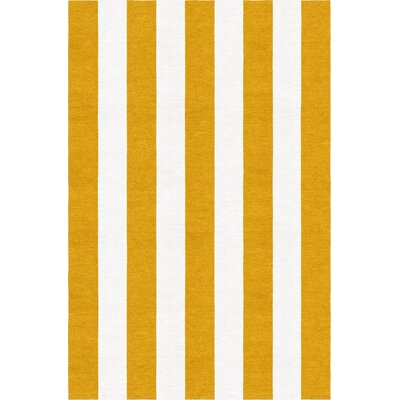 Watlington Stripe Hand-Woven Wool Dark Gold/White Area Rug Rug Size: Rectangle 9 x 12