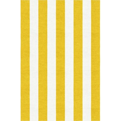 Watterson Stripe Hand-Woven Wool Gold/White Area Rug Rug Size: Rectangle 8 x 10