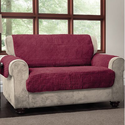 Box Cushion Loveseat Slipcover Upholstery: Burgundy, Type: Loveseat