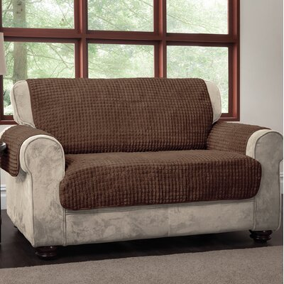 Box Cushion Loveseat Slipcover Upholstery: Chocolate, Type: Loveseat