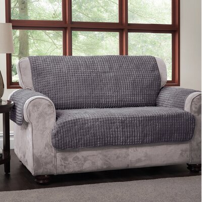 Box Cushion Loveseat Slipcover Upholstery: Gray, Type: Loveseat