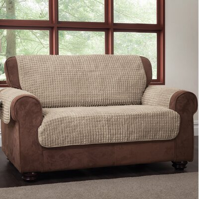 Box Cushion Loveseat Slipcover Upholstery: Natural, Type: Loveseat