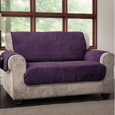 Box Cushion Loveseat Slipcover Upholstery: Purple, Type: Loveseat