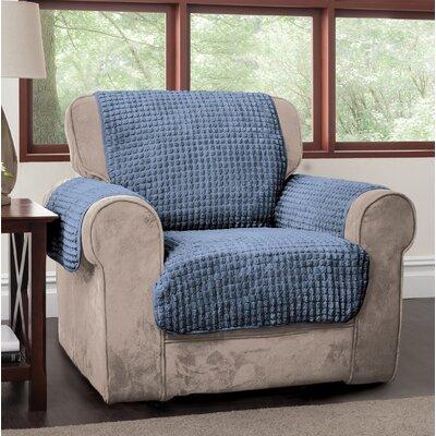 Box Cushion Armchair Slipcover Upholstery: Blue