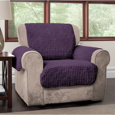 Box Cushion Armchair Slipcover Upholstery: Purple