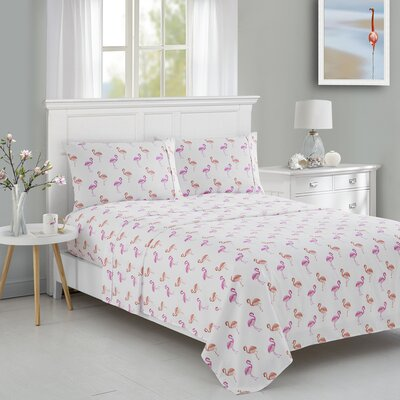 Flamingo Printed Microfiber Sheet Set Size: Twin