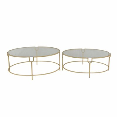 Kail Stylish Metal and Glass Round 2 Piece Nesting Tables