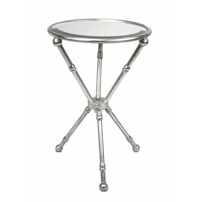 Planas Metal & Glass Mirrored Top End Table Table Base Color: Silver