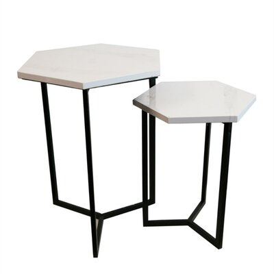 Lainez Hexagonal Faux Marble and Metallic 2 Piece Nesting Tables