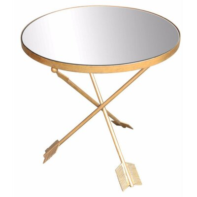 Baldrik Metal & Glass Arrow Mirrored Top End Table