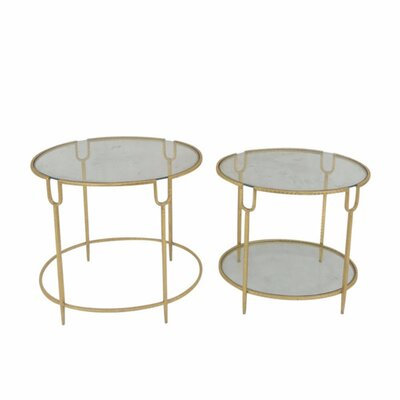 Kaczor Metal and Glass Round 2 Piece Nesting Tables