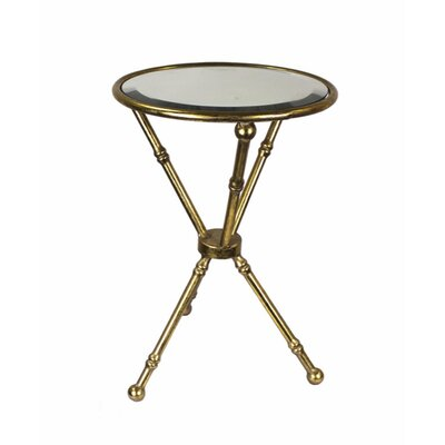 Planas Metal & Glass Mirrored Top End Table Table Base Color: Gold