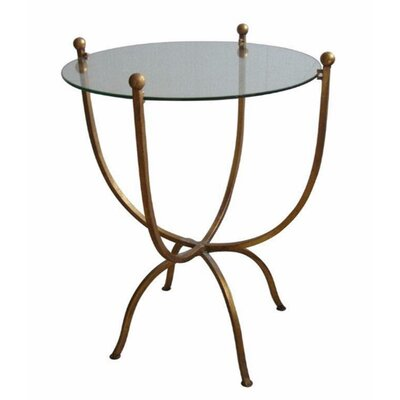 Levey Desire Metal & Glass End Table Table Base Color: Gold