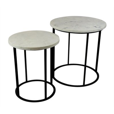 Laing Glamorous Faux Marble and Metallic 2 Piece Nesting Tables