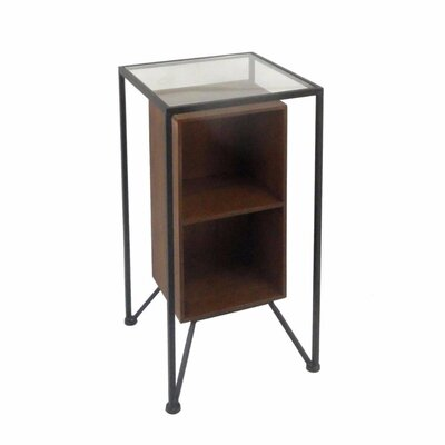 Mcglynn Compact Metal and Wood Storage End Table