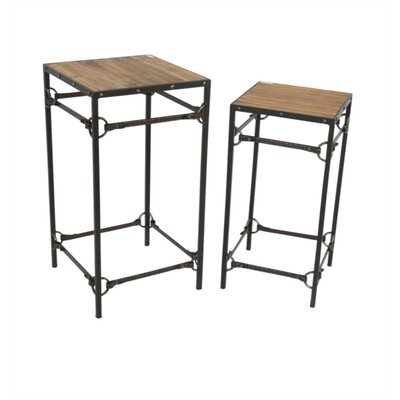 Auburn Wood and Metal 2 Piece Nesting Tables