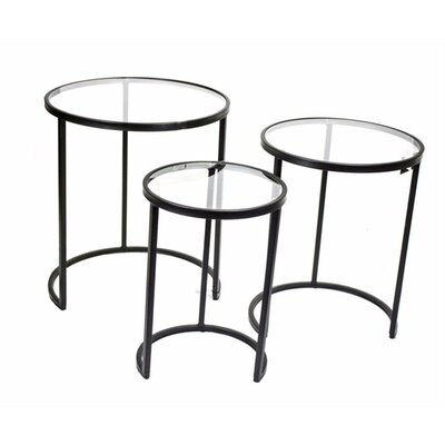 Mcleod Glass Top Metal 3 Piece Nesting Tables
