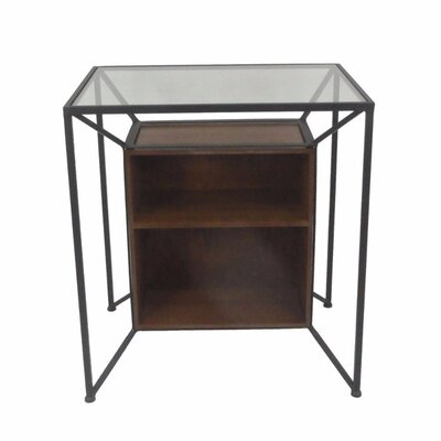 Mcglothin Metal and Wood Storage End Table