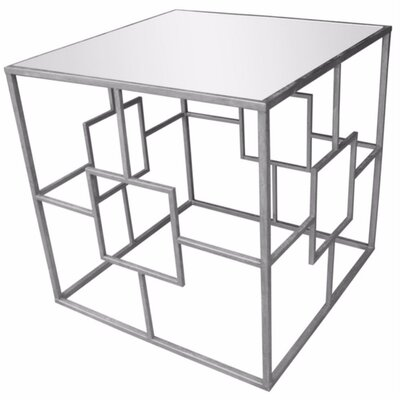Mclennan Metal & Glass Mirrored Top End Table