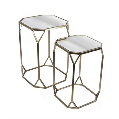 Baldhart Hexagonal Shaped Mirrored 2 Piece Nesting Tables