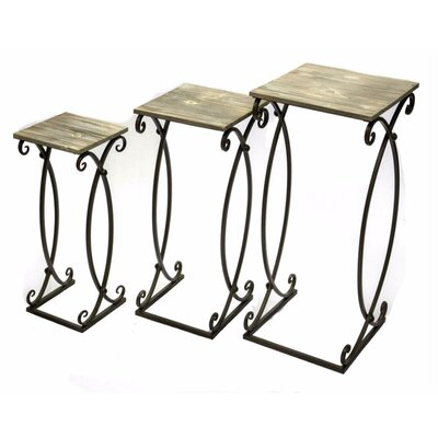 Coriandre Metal & Wood 3 Piece Nesting Tables
