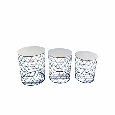 Lakey Plush Covered Metal 3 Piece Nesting Tables