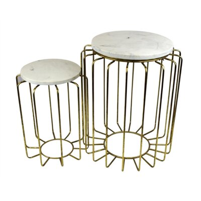 Freitas Faux Marble and Metallic 2 Piece Nesting Tables