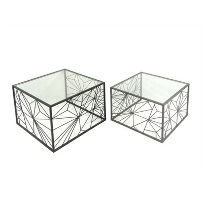 Mckinzie Artistic Metal Base 2 Piece Nesting Tables