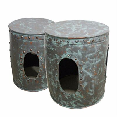Pierro Distressed Metal 2 Piece Nesting Tables